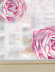 cheap -Window Film Window Decals Style Pink Roses Dull Polish PVC Window Film - (60 x 58)cm