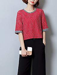 Women's Office/Career Dailywear Sport Casual Homecoming Lawn Vintage Simple Chinoiserie Spring Summer T-shirt,Others Round Neck½ Length