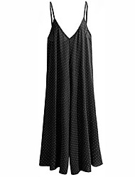Women's High Rise Casual/Daily Jumpsuits,Simple Relaxed Polka Dot Summer