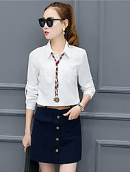 cheap -Women's Daily Casual Summer Blouse Skirt Suits,Solid Shirt Collar Long Sleeve Cotton/nylon with a hint of stretch