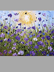 With Stretcher Frame Ready To Hang Hand-Painted Knife Purple Flower Oil Painting For Home Decoration