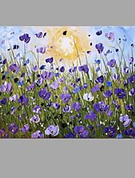 Peint à la main A fleurs/BotaniqueAbstrait Moderne/Contemporain Un Panneau Toile Peinture à l'huile Hang-peint For Décoration d'intérieur