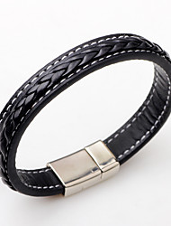 Women's Leather Bracelet Simple Casual Unique Cool Fashion Vintage Punk Hip-Hop Rock Leather Band Geometric Jewelry For Party Birthday Gift Sports