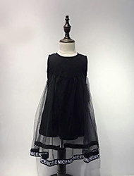 cheap -Girl's Lace Dress, Cotton Summer Sleeveless Lace Black