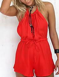 Недорогие -Для женщин На каждый день На выход Комбинезоны,Со стандартной талией Свободные Чистый цвет Однотонные Лето