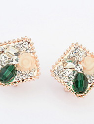 Stud Earrings Women's Girls' Earrings Set Korean Style Square Rhinestone Flower Elegant Luxury Delicate Friendship Party Daily Business Movie Jewelry