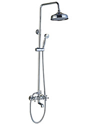 cheap -Shower Faucet - Antique / Art Deco / Retro / Traditional Chrome Tub And Shower Ceramic Valve / Brass / Three Handles Two Holes