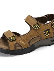 Camel Men's Daily Outdoor Leisure Durable Cow Leather Beach Sandal Shoes Color Dark Brown/