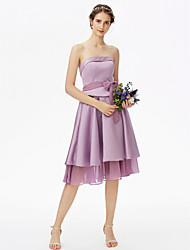 cheap -A-Line Strapless Knee Length Chiffon Satin Bridesmaid Dress with Bow(s) Sash / Ribbon Tiered by LAN TING BRIDE®