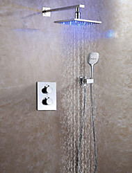 Contemporary Wall Mounted Rain Shower Thermostatic LED Ceramic Valve Two Handles Three Holes Chrome , Shower Faucet
