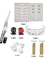 economico -Kit make up Polveri per sopracciglia Labbra Eyeliner Corpo Macchinette per Tatuaggio  18Aghi TurnoShader 14 Aghi Flat