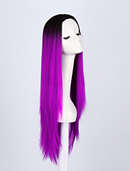cheap -Ladies Women Party Straight Hair Full Wig Daily Wearing Heat Resistant Cosplay Purple Mixed Color Synthetic Wigs