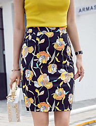 cheap -Women's Daily Going out Knee-length Skirts,Street chic Knitwear Floral Summer