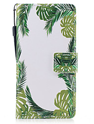 cheap -For Samsung Galaxy A3 A5 (2017) Case Cover Green Leaves Pattern Painted PU Skin Material Card Stent Wallet Phone Case
