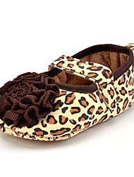 Baby Kids' Loafers & Slip-Ons First Walkers Leopard Fabric Summer Fall Party & Evening Dress Casual Animal Print Flower Flat Heel Brown Flat
