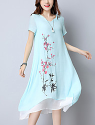 cheap -Women's Street chic / Chinoiserie Cotton / Linen Loose Dress - Print / Patchwork Printing / Patchwork / Summer