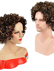 Short Kinky Curly Wig Bronw Mixed Color Fashion Summer Hot Style Capless Daily Wig High Quality Heat Resistant Female and Male's Wig Cosplay Hair