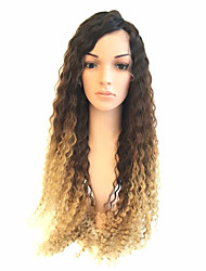 Brazilian Ombre Blonde Human Hair Curl Full Lace Wigs Virgin Human Hair Dark Roots Ombre Blonde Glueless  Full Lace Wigs