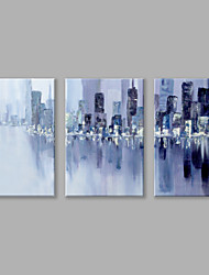 IARTS Oil Painting Modern Abstract Purple Knife Painting City Set of 3 Art Acrylic Canvas Wall Art For Home Decoration