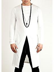 voordelige -Heren Informeel T-shirt Effen Ronde hals Lange mouw Katoen Polyester