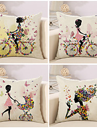 cheap -Set Of 4 Colorful Flower Bicycle Fairy Printing Pillow Cover Sofa Cushion Cover Fashion Pillow Case 45*45Cm