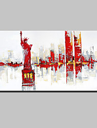 Large Hand-Painted Knife City Oil Painting On Canvas Modern Abstract Statue of Liberty Wall Art Pictures For Home Decoration Ready To Hang