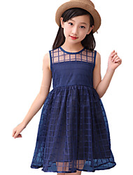 cheap -Girl's Solid Color Dress,Cotton Spring Summer All Seasons Sleeveless Floral Lace White Navy Blue Purple Fuchsia
