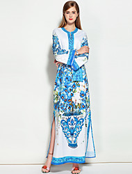 Mary Yan&Yu Going out Casual/Daily Beach Simple Swing DressGeometric Round Neck Knee-length  Length Sleeve Silk Green Spring Summer Mid Rise