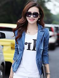Giacca di jeans Da donna Prato Primavera,Tinta unita Colletto 20% Wool21% Poliestere 59% Viscosa Standard Manica lunga