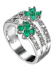 Damen Ring Synthetischer Smaragd Einzigartiges Design Modisch Euramerican Zirkon Smaragdfarben Aleación Schmuck Schmuck Für Hochzeit