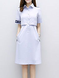 Women's Office/Career Thank You Casual New Year Simple Street chic Sophisticated Sheath Dress,Pattern Shirt Collar Knee-lengthShort