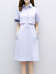 Feminino Bainha Vestido,Escritório/Carreira Casual Ano Novo Simples Moda de Rua Sofisticado Padrão Colarinho de Camisa Altura dos Joelhos