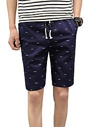 Masculino Fofo Simples Moda de Rua Activo Cintura Baixa Micro-Elástica Chinos Shorts Calças,Delgado Sólido Poá Listrado,Côr Pura Conferir