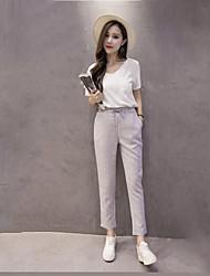Feminino Fofo Cintura Média Micro-Elástica Chinos Calças,Solto Listrado,Conferir Padrão Listas