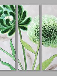 economico -Dipinta a mano Floreale/Botanical Fiore Astratto Tre Pannelli Tela Hang-Dipinto ad olio For Decorazioni per la casa