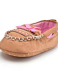 Newborn Baby Kids' Loafers & Slip-Ons First Walkers Fabric Fall Winter Party & Evening Dress Casual Bowknot Applique Flat Heel Khaki Flat