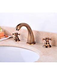 economico -Lavandino rubinetto del bagno - Separato Rame anticato A 3 fori Due maniglie Tre fori