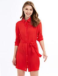 Feminino Reto Vestido, Casual Simples Sólido Colarinho de Camisa Acima do Joelho Manga ¾ Vermelho Preto Poliéster Primavera VerãoCintura