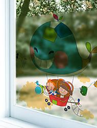 Window Film Window Decals Style Cartoon Travel Dull Polish PVC Window Film - (60 x 58)cm
