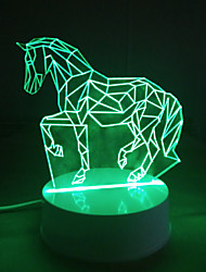 cheap -3D Acrylic LED Lamp Horse Shape Night Lights for Kids Room Decorative Lamps Remote Control Lights Lamps for Family Love
