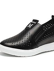 cheap -Women's Loafers & Slip-Ons Chic & Modern Microfibre Spring Summer Casual Flat Heel Black White Flat