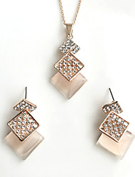 cheap -Women's Jewelry Set Imitation Opal Basic Costume Jewelry Alloy Square 1 Necklace 1 Pair of Earrings For Wedding Party Special Occasion