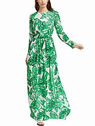 baratos -Mulheres Boho balanço Vestido - Franzido Estampado Longo