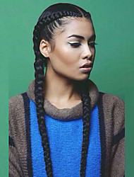 cheap -Synthetic Lace Front Wig Straight Yaki With Baby Hair African Braids Braided Wig Middle Part Natural Hairline Black Women's L Part