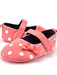 Newborn Baby Kids' Loafers & Slip-Ons First Walkers Fabric Summer Fall Party & Evening Dress Casual Bowknot Polka Dot Flat Heel Red Navy Blue Flat