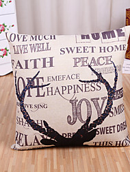 1 Pcs Quotes & Sayings With Deer Horn Pillow Cover Square Cotton/Linen Pillow Case Home Decor