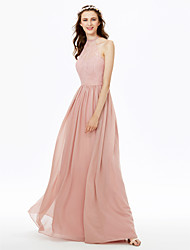 cheap -Sheath / Column High Neck Floor Length Chiffon Sheer Lace Bridesmaid Dress with Lace Sash / Ribbon Pleats by LAN TING BRIDE®