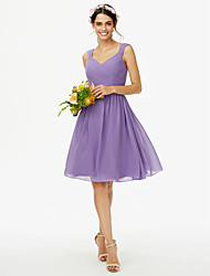 cheap -A-Line Straps Knee Length Chiffon Bridesmaid Dress with Bow(s) Sash / Ribbon Criss Cross Pleats by LAN TING BRIDE®