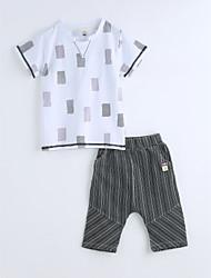 Chlapecké Bavlna Tisk Geometrie Léto Soupravy,Krátký rukáv Sady oblečení