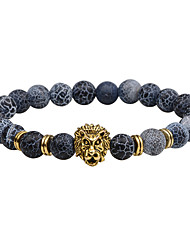 cheap -Men's Strand Bracelet Onyx Punk Hip-Hop Rock Costume Jewelry Fashion Vintage Agate Alloy Circle Round Geometric Jewelry For Party